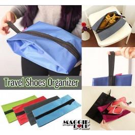 Travel Shoes Box Pouch Storage Enfoldment Waterproof Organizer Bag Gym Sports[Blue]